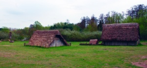 A couple of the many thatched roof buildings in the recreated village of West Stow.